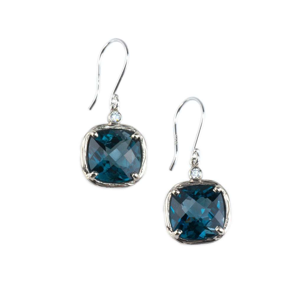Riverbend Collection White Gold London Blue Topaz Earrings