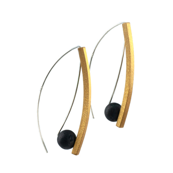 Mysterium Collection Sterling Silver Black & Gold Earrings