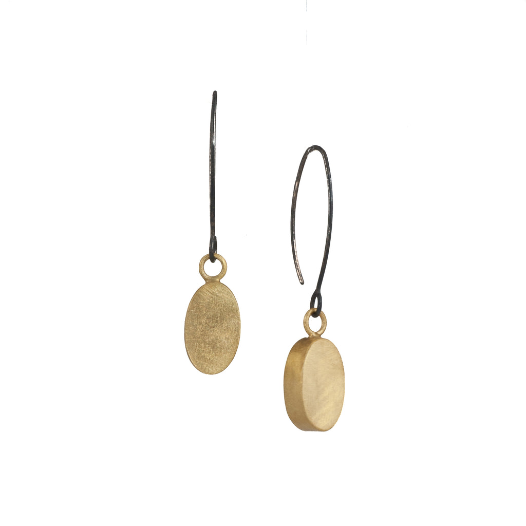 Mysterium Collection Black & Gold Oval Drop Earrings
