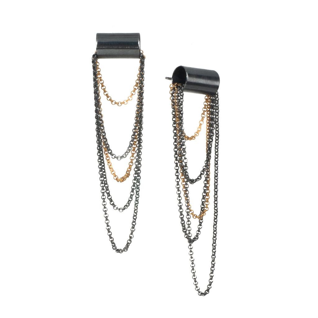 Mysterium Collection Black and Gold Chain Earrings (Med)