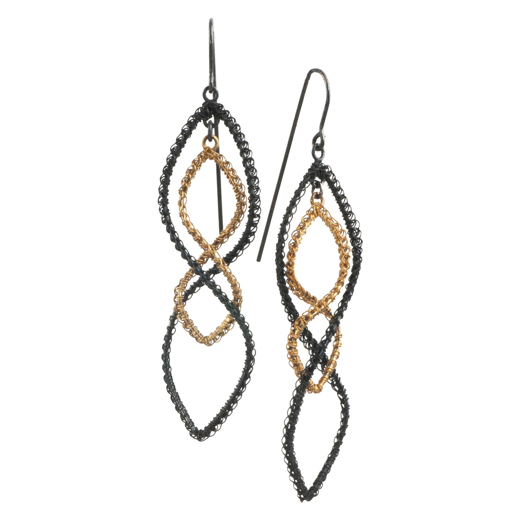 Mysterium Collection Black and Gold Spiral Crochet Earrings
