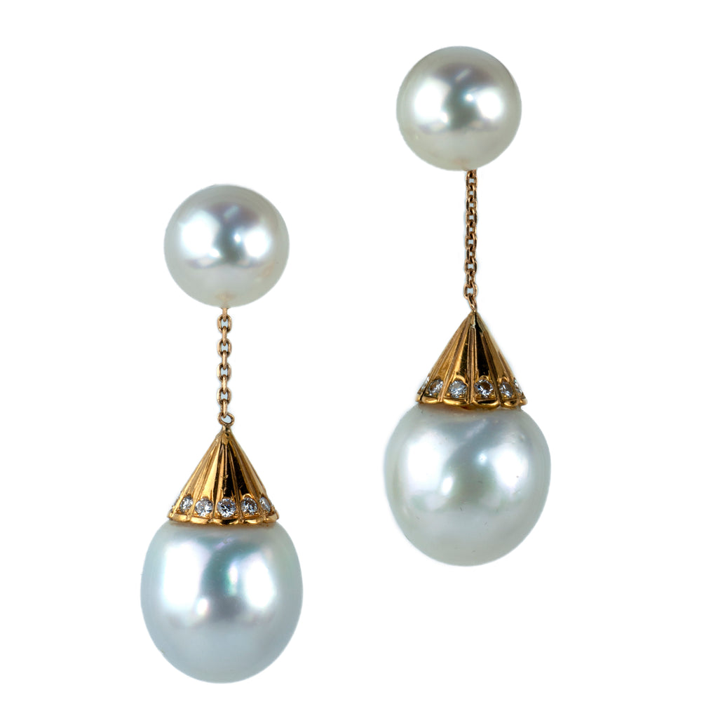 Estate Collection Pearl & Diamond Earrings