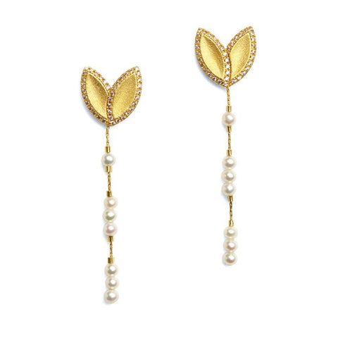 "Bernd Wolf Collection ""Navela"" Pearl & CZ Drop Earrings"