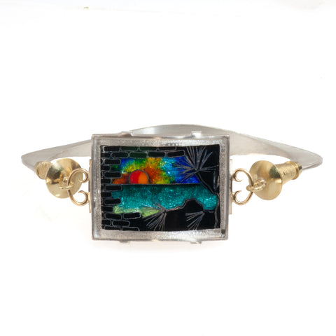 "18k and Sterling ""Beach Sunset"" Enamel Bracelet"