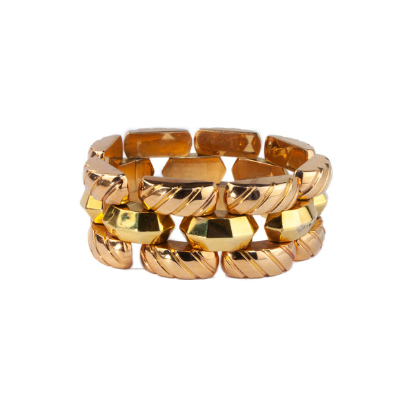 Estate Collection 18K Yellow & Rose Gold Retro Link Bracelet