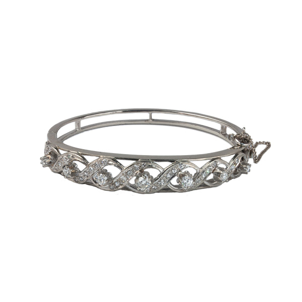 Estate Collection 1.5CT Diamonds Hinged Bracelet