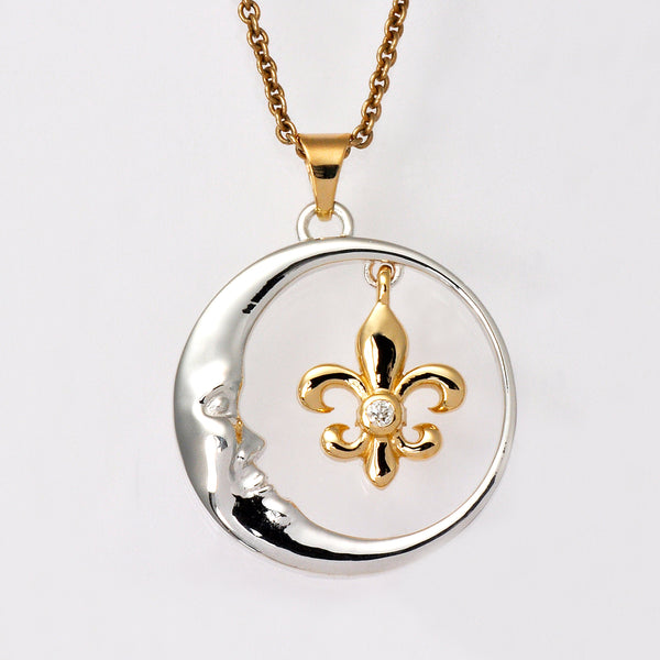 14K White & Yellow Gold Crescent Moon & Fleur de Lis Pendant