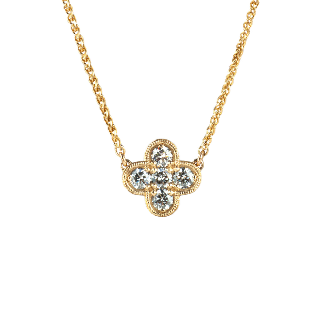 Tom Mathis Designs 14K Yellow Gold Diamond Clover Necklace