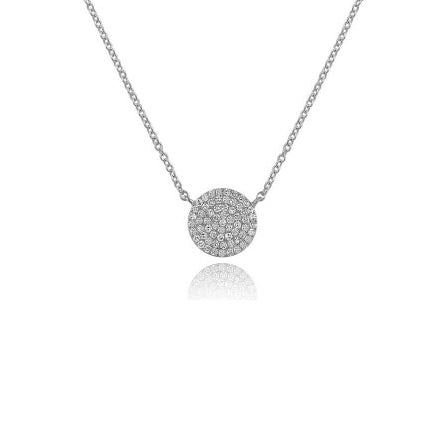 Majolie Collection White Gold Diamond Disc Necklace