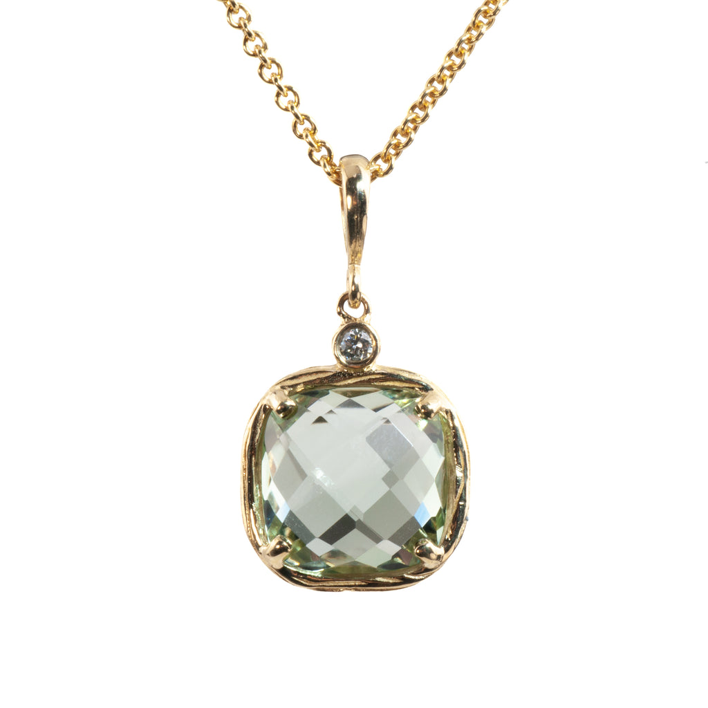 Riverbend Collection Yellow Gold Green Amethyst Pendant