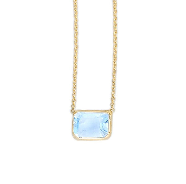 14K Emerald Cut Blue Topaz Necklace