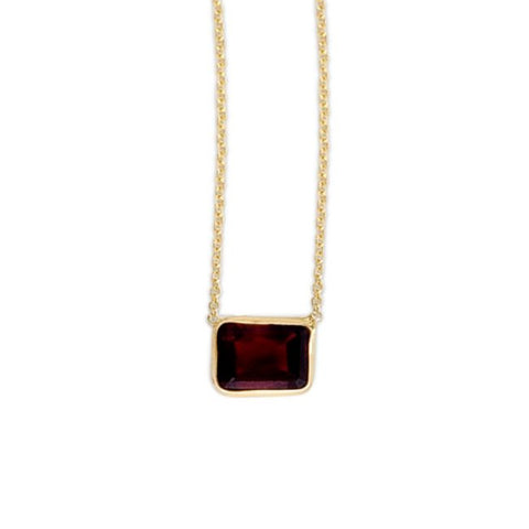 14K Emerald Cut Garnet Necklace