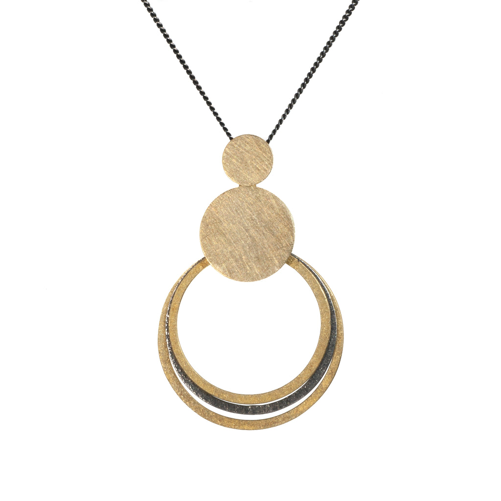 "Mysterium Collection Black and Gold ""3 Orbit Circles"" Necklace"