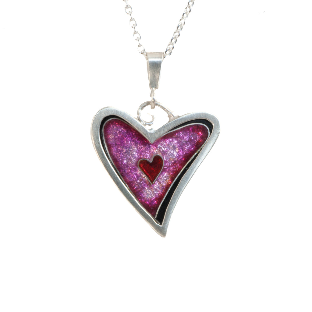 James Carter Cloisonne Pink Heart Pendant