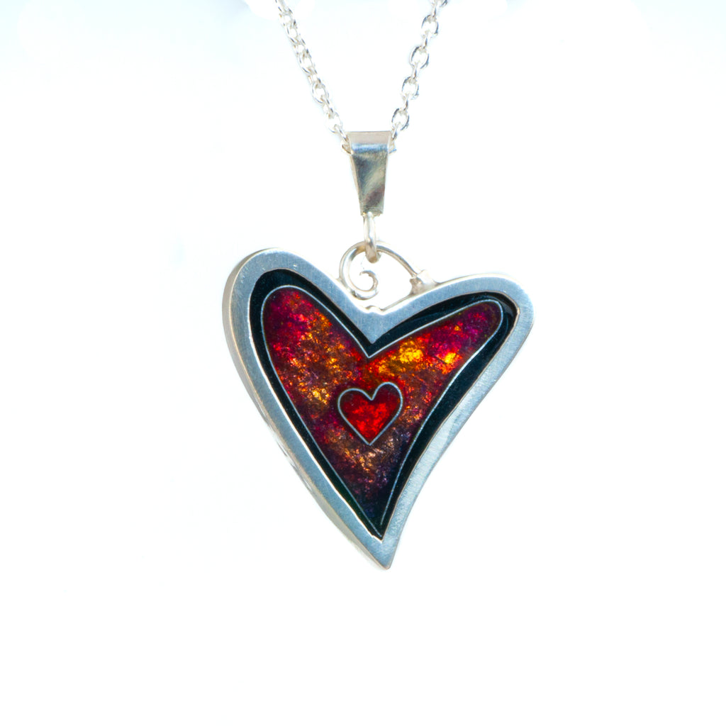 James Carter Cloisonne Red Heart Pendant
