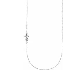 14K White Gold Infinity Cross Off-Center Necklace