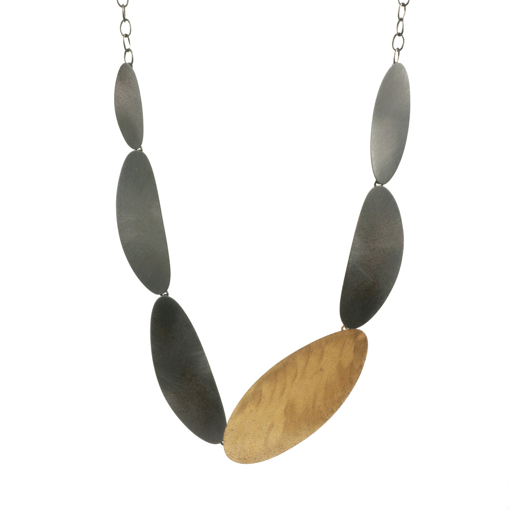 Mysterium Collection 3-Tone Textured Oval Necklace