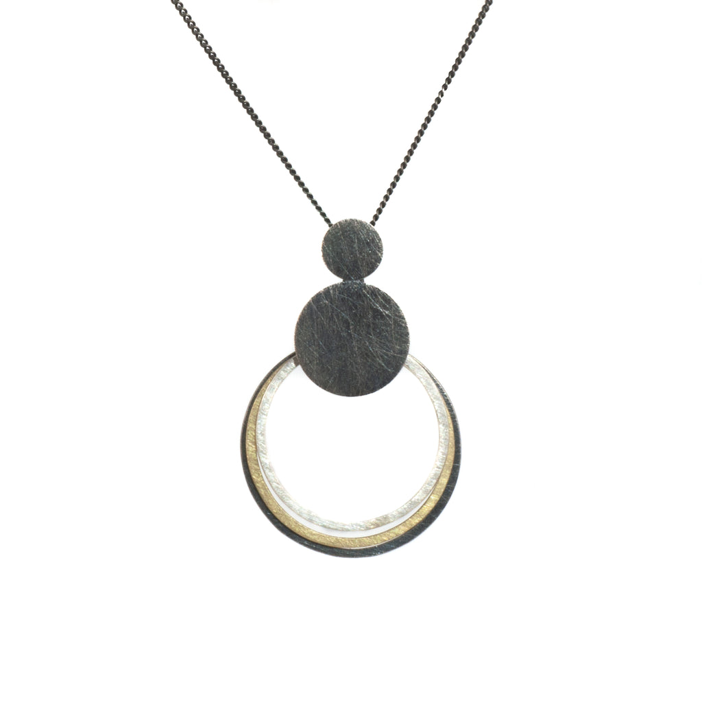 "Mysterium Collection Black and Gold Circle ""Orbit"" Necklace"