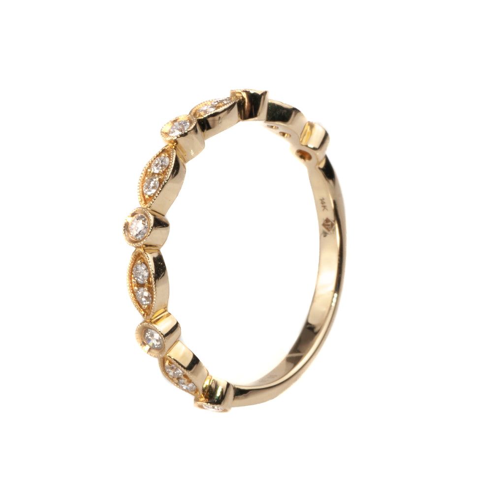 14K Yellow Gold .19 Ct. Diamond Stackable Shapes Band