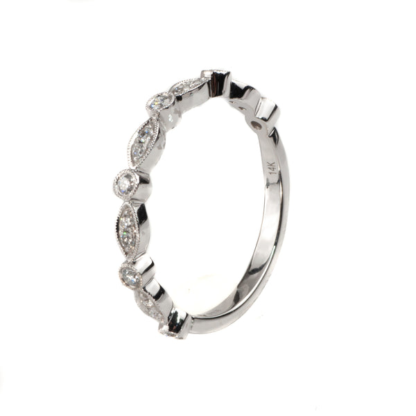 14K White Gold .18 Ct Diamond Stackable Shapes Band