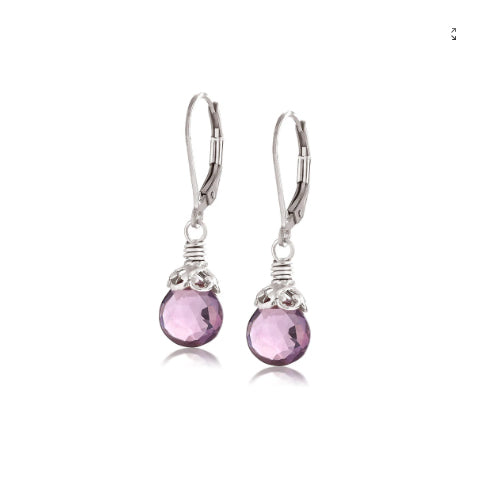 Anatoli Collection Sterling Silver Amethyst Drop Earrings