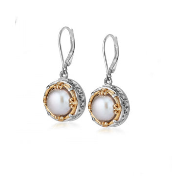 Anatoli Collection White Freshwater Pearl Drop Earrings (Lg)