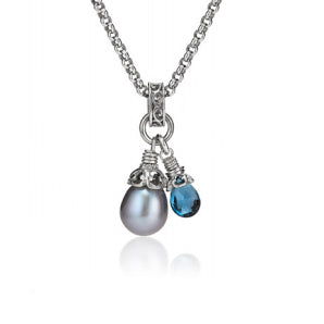 Anatoli Collection London Blue Topaz & Gray Pearl Pendant