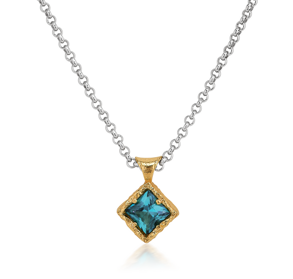 Anatoli Collection Sterling Silver Paraiba Topaz Necklace