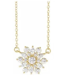 14K Yellow Gold Vintage-Inspired Diamond Necklace