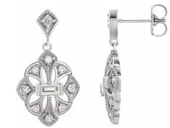 14K White Gold Vintage-Inspired Diamond Drop Earrings