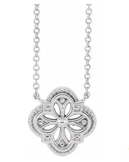 14K White Gold Vintage-Inspired Clover Necklace