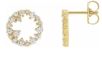 "14K Yellow Gold ""Scattered"" Diamond Circle Earrings"