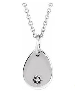 "Sterling Silver Diamond ""Starburst"" Engraveable Teardrop Pendant"