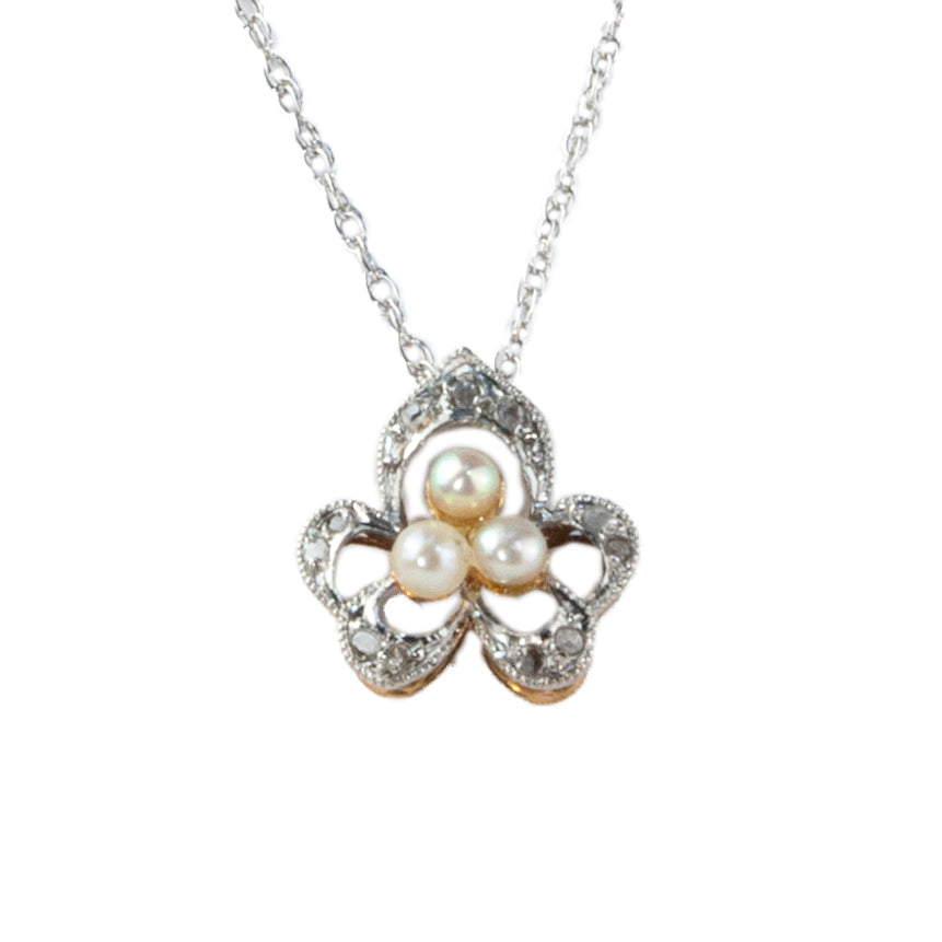 Estate Collection Edwardian Diamond & Pearl Pendant