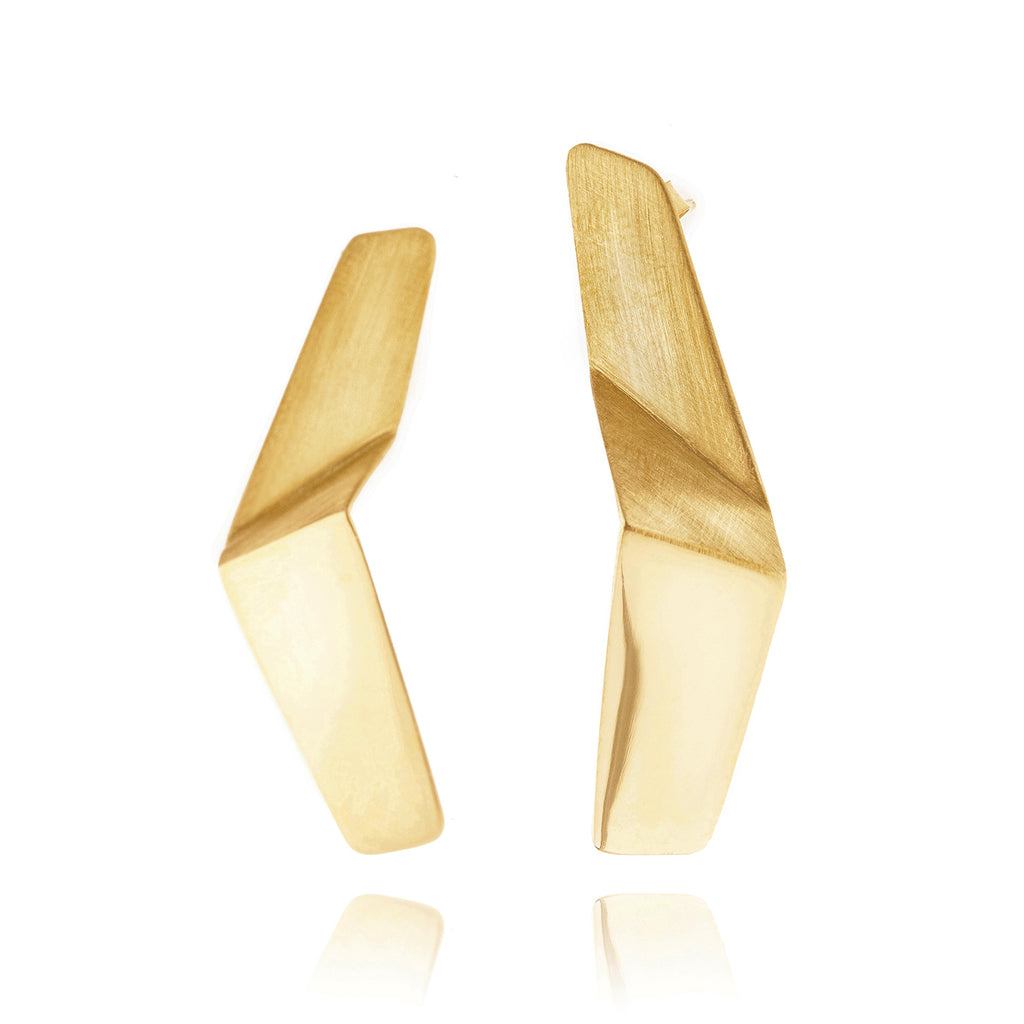 Mysterium Collection Gold-Plated Sterling Silver Bent Strip Earrings