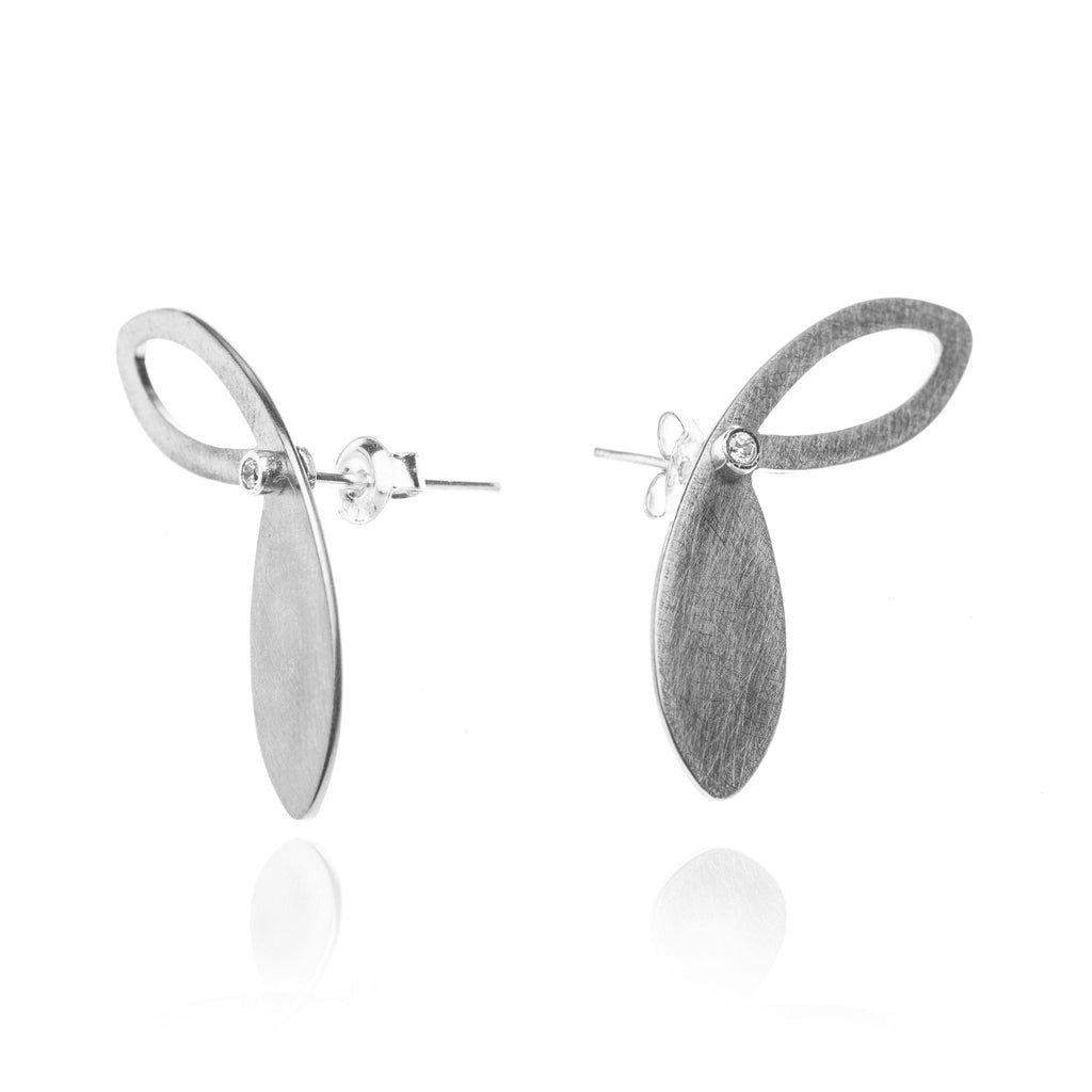Mysterium Collection Oxidized Steel Petal Earrings