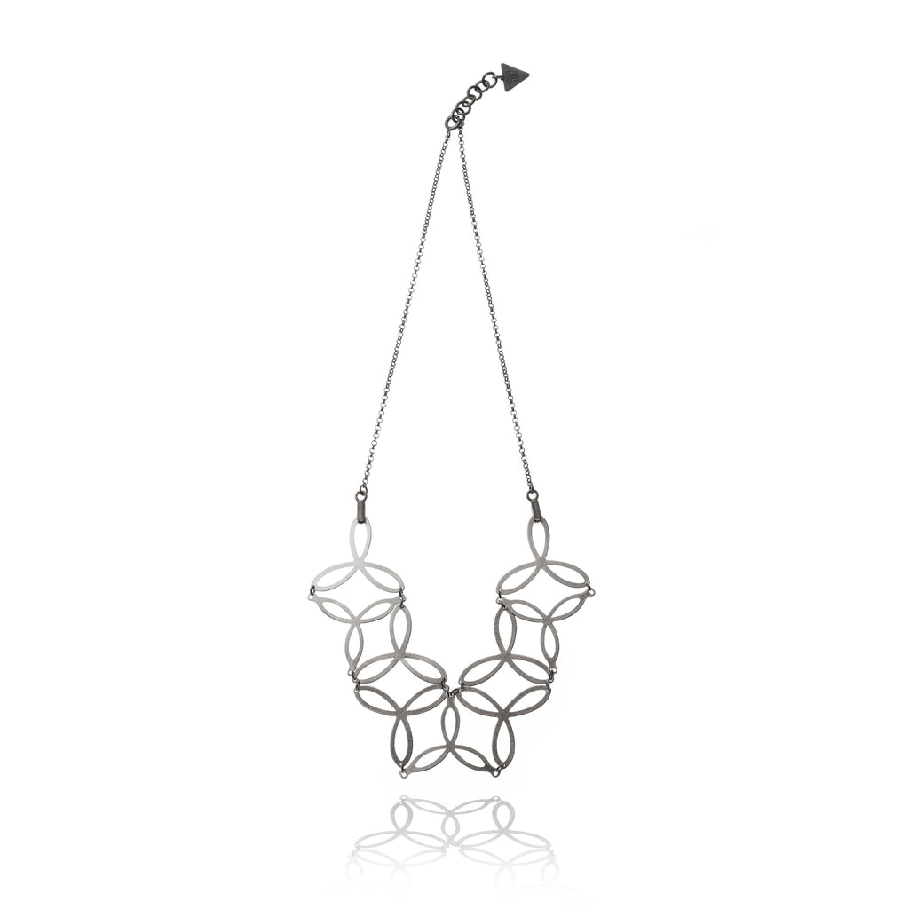Mysterium Collection Oxidized Sterling & Steel Triple Petal Necklace