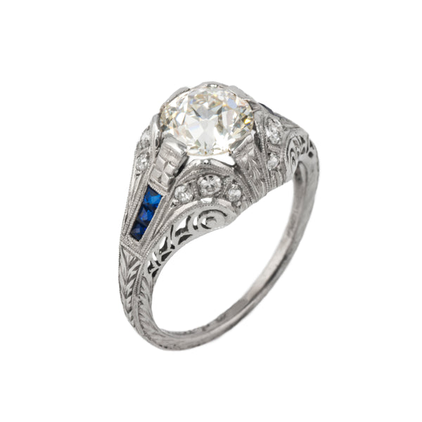 Estate Collection Platinum Art Deco 1.5CT Diamond & Sapphire Ring