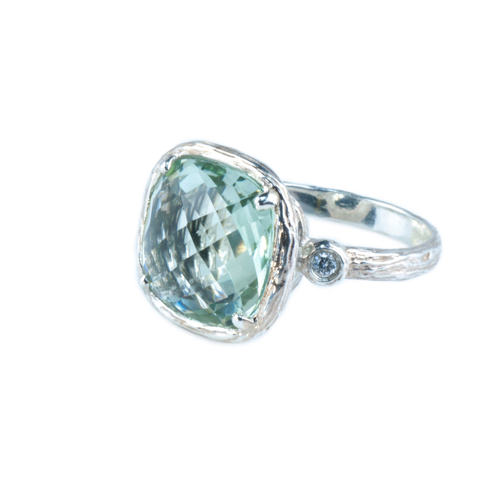 Riverbend Collection Sterling Silver Green Amethyst Ring