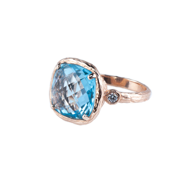 Riverbend Collection Rose Gold Blue Topaz Ring