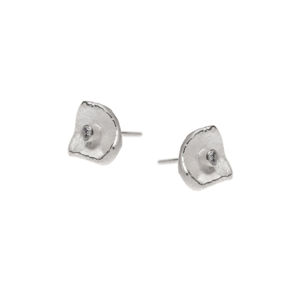 Mysterium Collection Sterling Silver Petal & CZ Earrings (Sm)