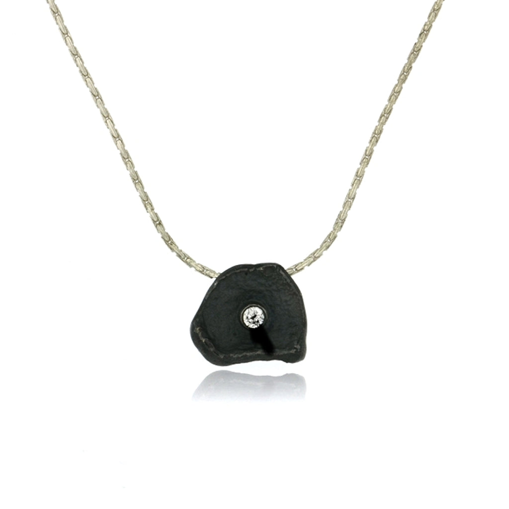 Mysterium Collection Sterling Petal with CZ Necklace (Sm)