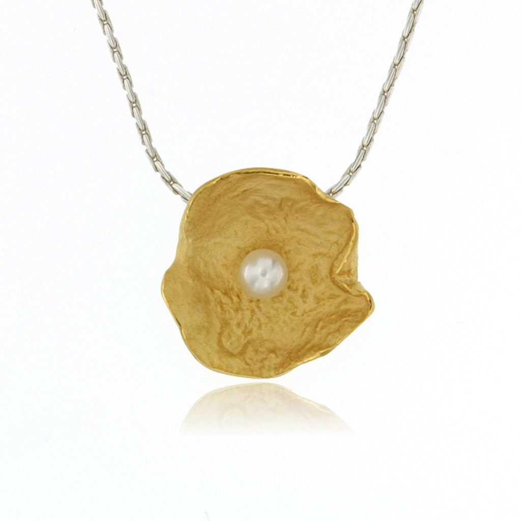 Mysterium Collection Vermeil Petal & Pearl Pendant (Lg)