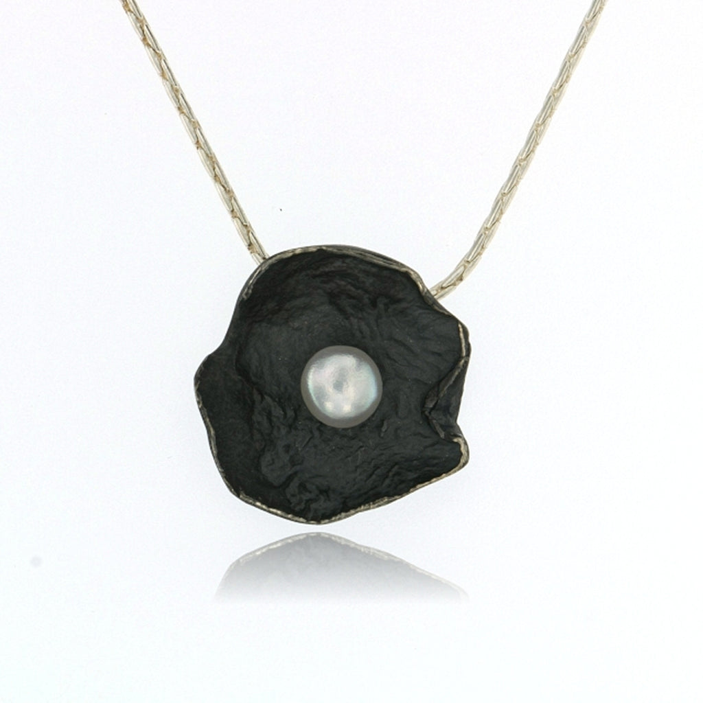 Mysterium Collection Oxidized Sterling Silver Petal Necklace