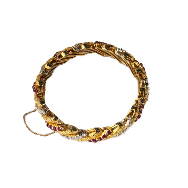 Estate Collection 18K Yellow Gold Diamond & Ruby Bracelet
