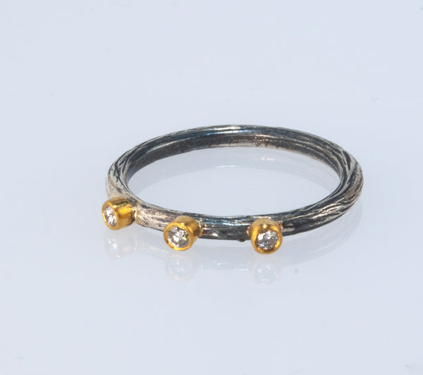 "Prehistoric Works Collection ""3 Petit Diamonds"" Ring"