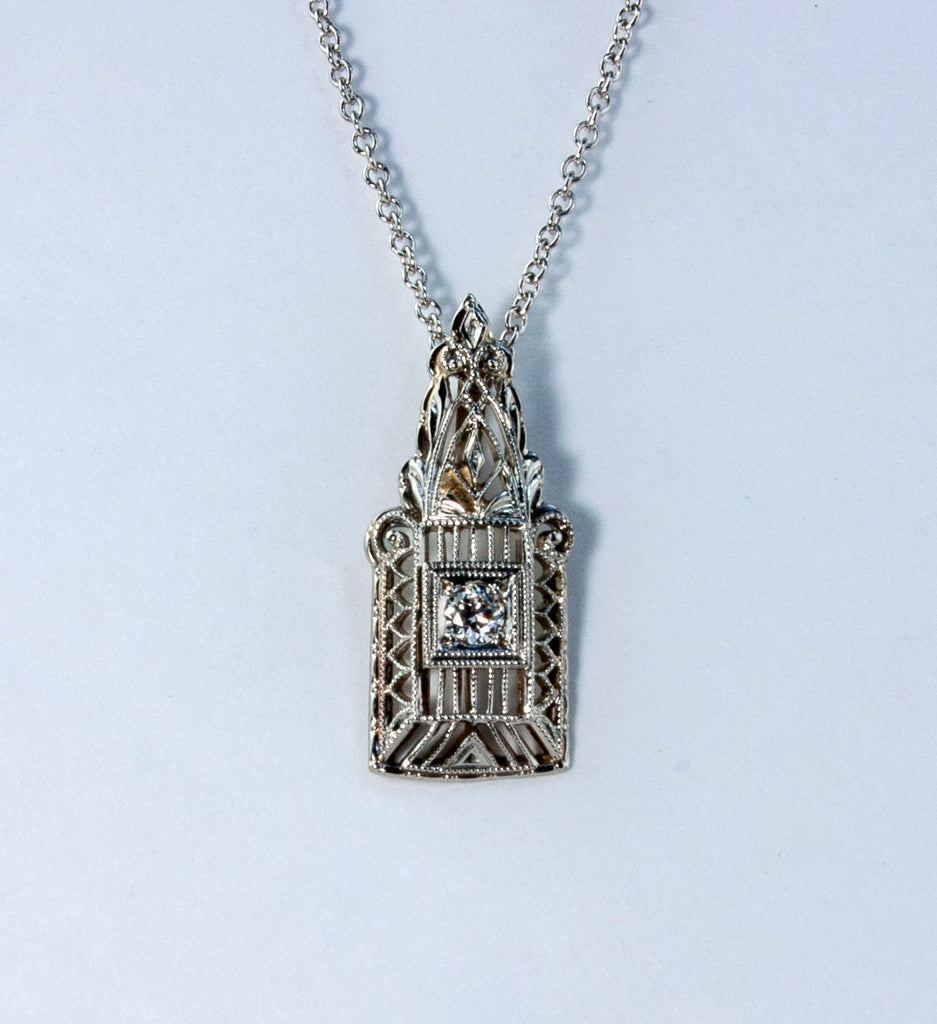 Estate Collection Platinum Art Deco Diamond Pendant