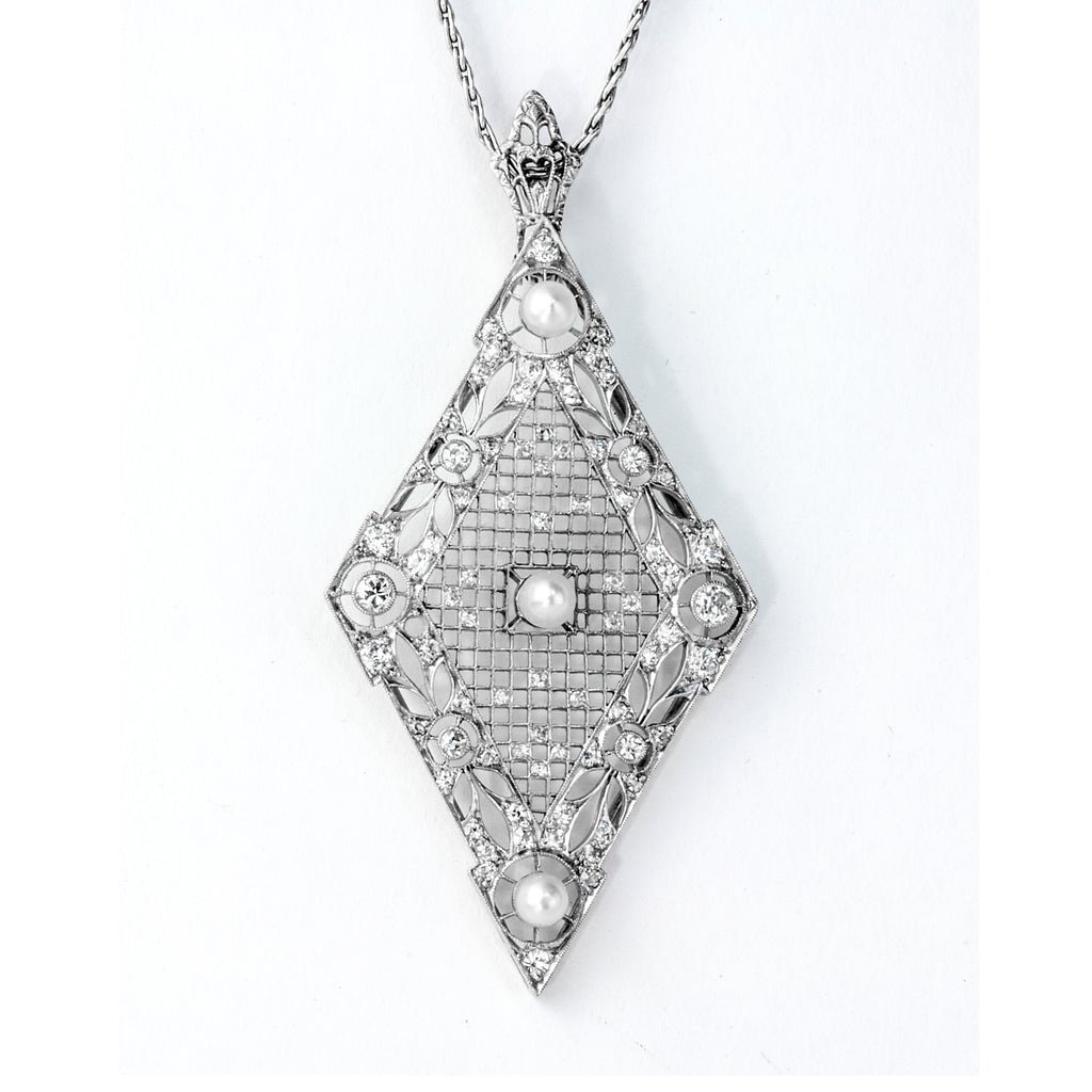 Estate Collection Art Deco Diamond & Pearl Pendant