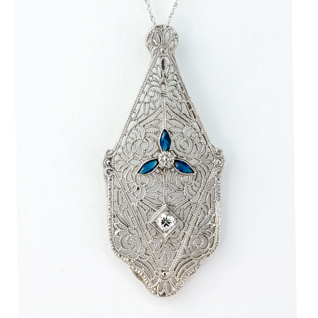 Estate Collection Art Deco Diamond & Sapphire Pendant