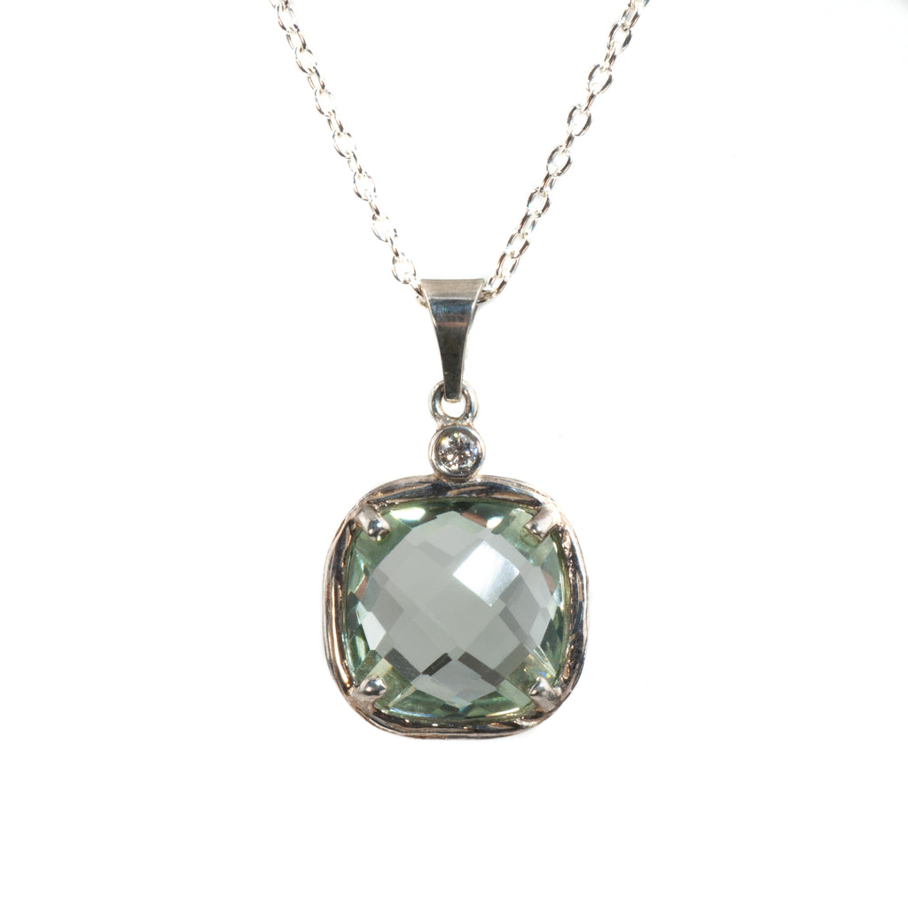 Riverbend Collection Sterling Green Amethyst Pendant